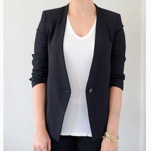 Zara Ruched Sleeve Black Blazer